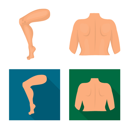 Vector illustration of body and part symbol. Set of body and anatomy stock symbol for web.