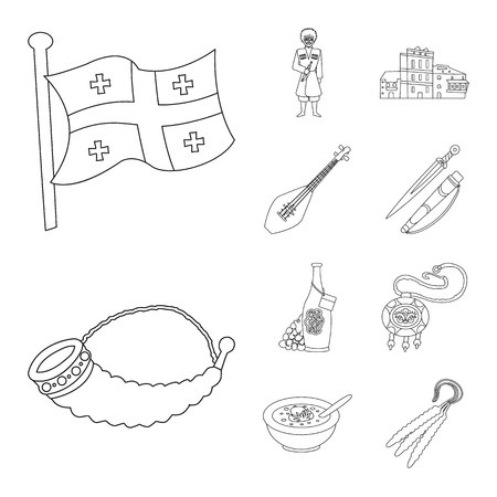 Vector illustration of traditions and national sign. Set of traditions and sightseeing stock vector illustration.