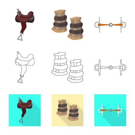 Vector design of equipment and riding logo. Collection of equipment and competition vector icon for stock. Logo