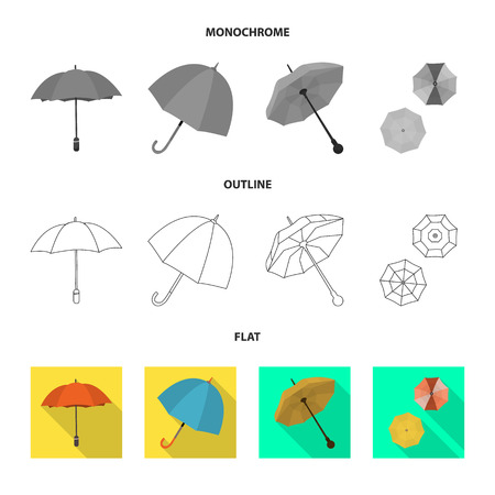 Isolated object of protection and closed icon. Set of protection and rainy stock vector illustration.