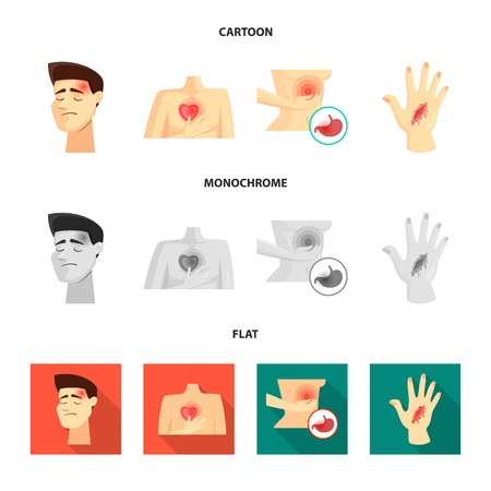 Vector illustration of hospital and rendering symbol. Set of hospital and help stock vector illustration. Ilustrace
