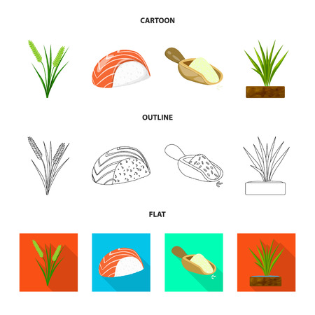 Vector design of crop and ecological symbol. Collection of crop and cooking vector icon for stock.
