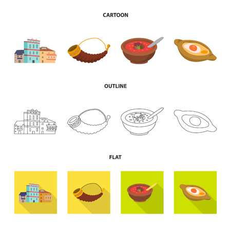 Vector illustration of culture and sightseeing icon. Set of culture and originality stock symbol for web. Illustration