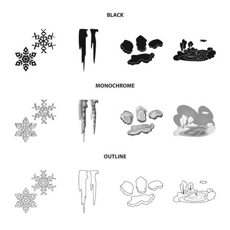 Disegno vettoriale di texture e congelato. Set di texture e simbolo di borsa trasparente per il web.