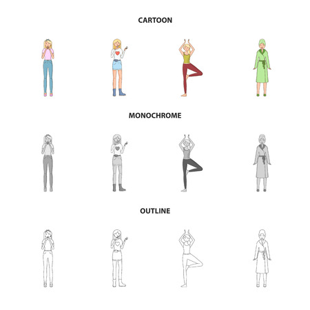Vector illustration of posture and mood logo. Set of posture and female vector icon for stock. Stock Illustratie