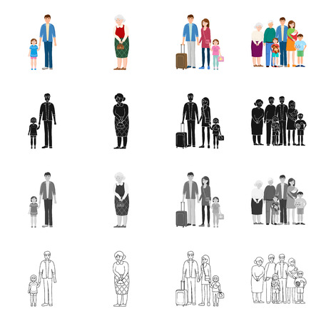 Vector design of character and avatar  icon. Collection of character and portrait vector icon for stock. Ilustração