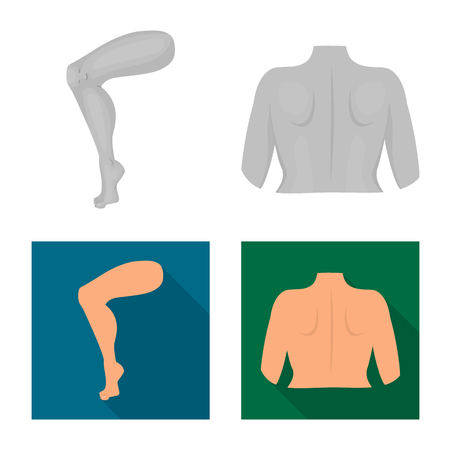 Vector design of body and part symbol. Collection of body and anatomy stock symbol for web. Illustration