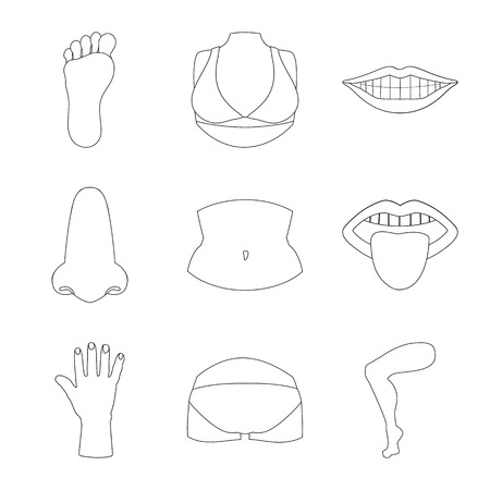 Vector illustration of body and part sign. Collection of body and anatomy stock vector illustration.