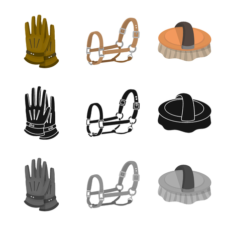 Isolated object of equipment and riding sign. Collection of equipment and competition stock symbol for web.