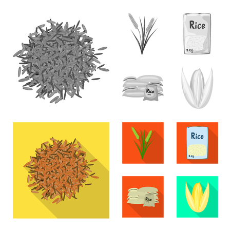 Isolated object of crop and ecological icon. Set of crop and cooking stock vector illustration.