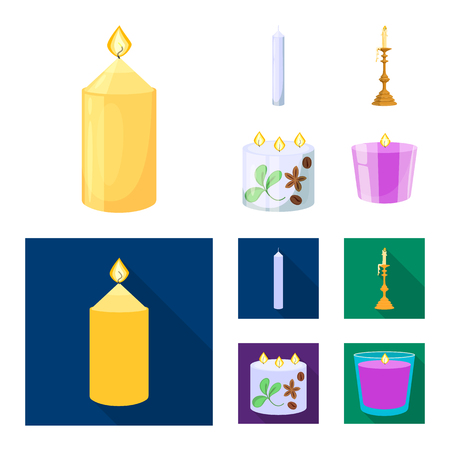 Isolated object of relaxation and flame sign. Collection of relaxation and wax vector icon for stock.