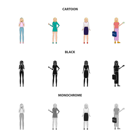 Vector illustration of posture and mood symbol. Set of posture and female stock vector illustration.