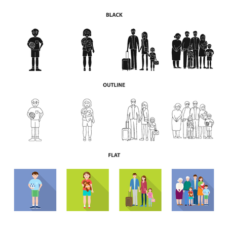 Isolated object of character and avatar  symbol. Set of character and portrait stock vector illustration.