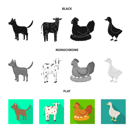 Vector design of breeding and kitchen  sign. Set of breeding and organic  vector icon for stock.