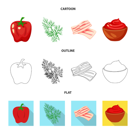 Vector illustration of taste and product. Set of taste and cooking stock vector illustration. Vettoriali