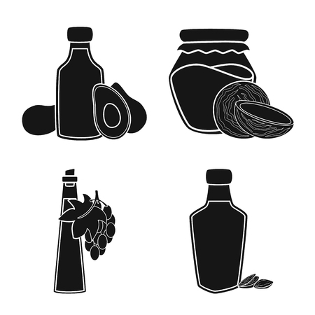 Vector illustration of oil and agriculture symbol. Set of oil and glass  stock vector illustration.