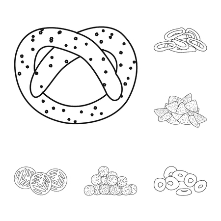 Isolated object of product and menu symbol. Set of product and flavor stock vector illustration.