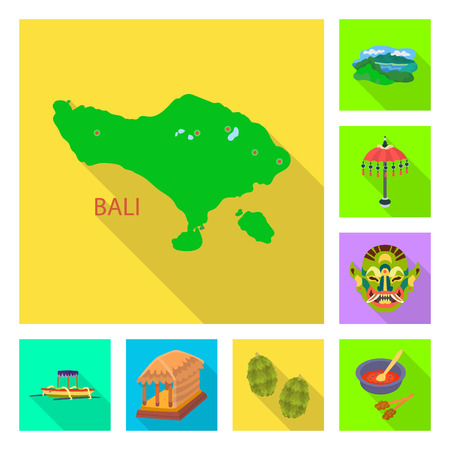 Vector design of bali and indonesia symbol. Collection of bali and caribbean stock vector illustration.