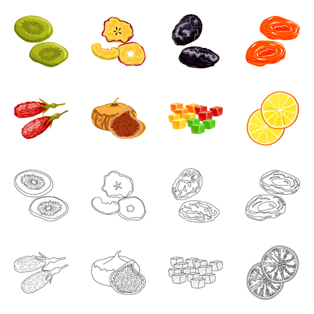 Vector design of food  and raw  sign. Set of food  and nature   vector icon for stock. Ilustrace