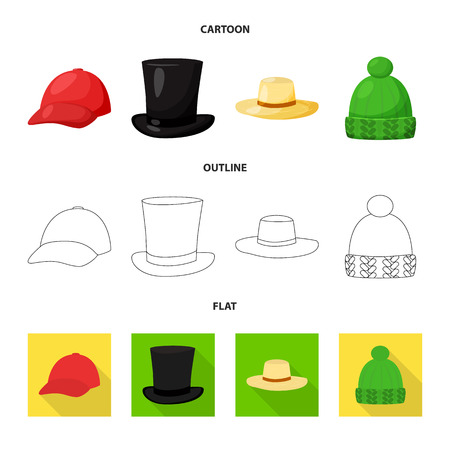 Vector illustration of clothing and cap icon. Set of clothing and beret stock symbol for web.