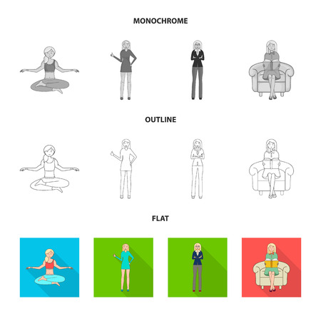 Vector illustration of posture and mood icon. Collection of posture and female vector icon for stock.