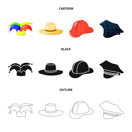 Vector design of clothing and cap icon. Set of clothing and beret stock symbol for web.