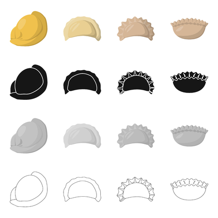 Vector illustration of products  and cooking icon. Collection of products  and appetizer stock symbol for web. Ilustrace