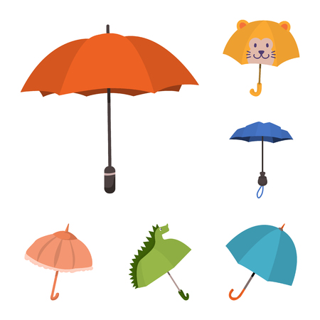 Isolated object of umbrella and rain sign. Collection of umbrella and weather vector icon for stock.