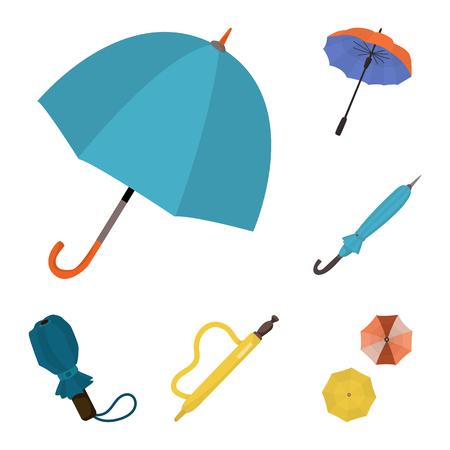 Vector design of umbrella and rain icon. Set of umbrella and weather vector icon for stock.