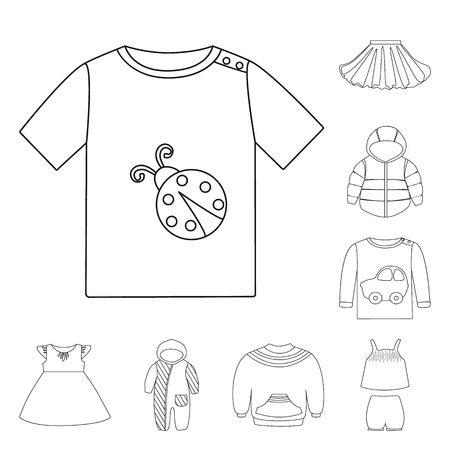 Vector illustration of wear and child logo. Collection of wear and apparel stock symbol for web.