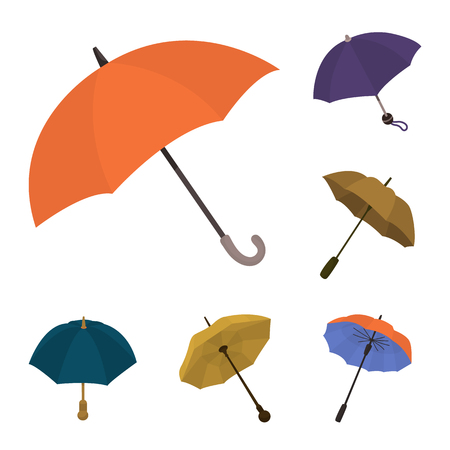 Isolated object of umbrella and rain icon. Collection of umbrella and weather stock symbol for web.