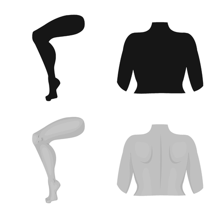 Vector design of body and part sign. Set of body and anatomy stock symbol for web.