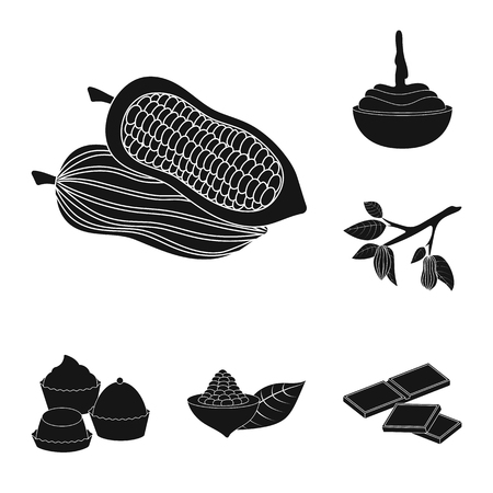 Isolated object of cooking and brown   icon. Collection of cooking and beans stock vector illustration.