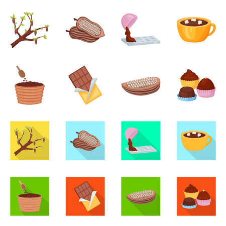 Isolated object of food and yummy symbol. Set of food and brown   stock symbol for web. Illustration