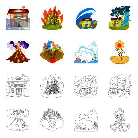 Isolated object of weather and distress icon. Set of weather and crash vector icon for stock. Illustration