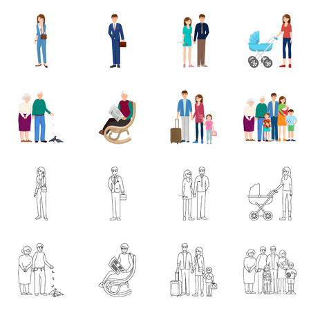 Vector design of character and avatar  sign. Collection of character and portrait stock vector illustration. 스톡 콘텐츠 - 118742740
