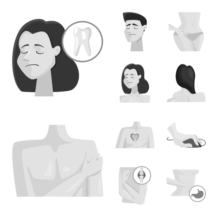 Vector illustration of suffering and injury icon. Collection of suffering and damage vector icon for stock. Stock Illustratie