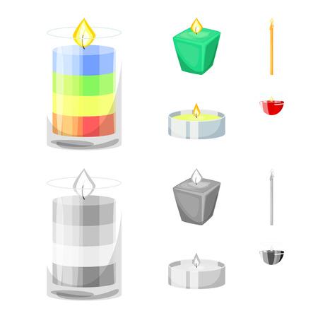 Illustration vectorielle du logo de relaxation et de flamme. Ensemble de relaxation et de symbole boursier de cire pour le web. Logo