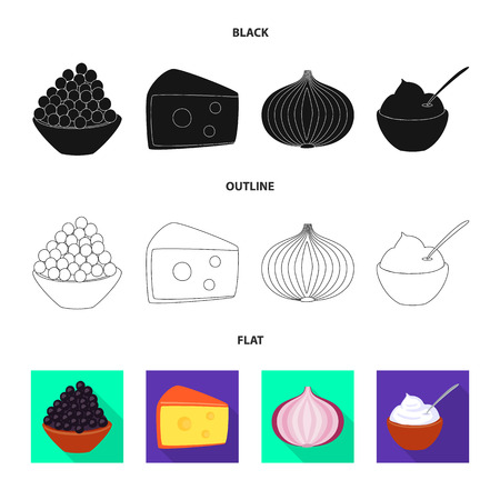 Vector design of taste and product icon. Set of taste and cooking vector icon for stock. Vettoriali