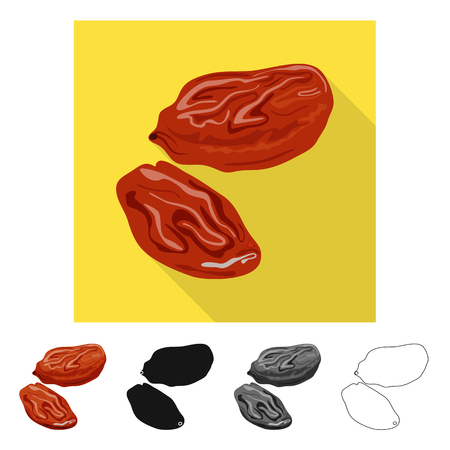 Vector illustration of raisin and dry  icon. Set of raisin and heap  stock vector illustration.
