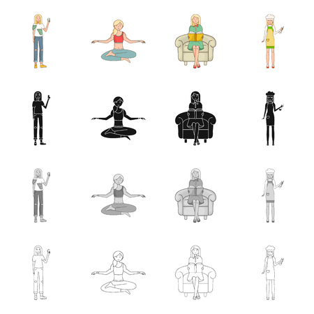 Isolated object of posture and mood icon. Set of posture and female vector icon for stock.  イラスト・ベクター素材