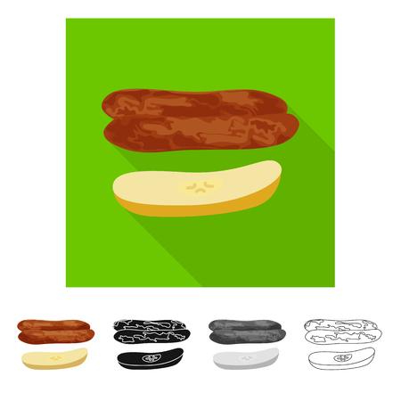 Vector illustration of banana and dry icon. Collection of banana and tropical vector icon for stock. Ilustração