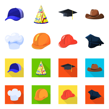 Vector illustration of clothing and cap icon. Set of clothing and beret vector icon for stock.