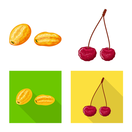 Vector illustration of food  and raw  icon. Collection of food  and nature   stock symbol for web.
