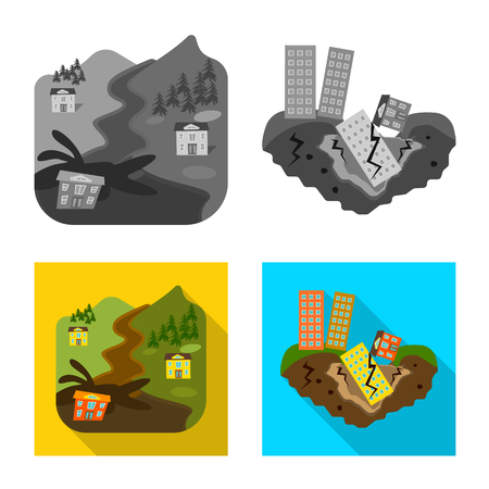 Vector illustration of weather and distress icon. Set of weather and crash vector icon for stock. 일러스트