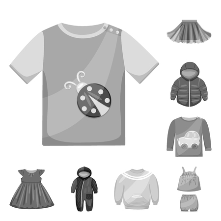 Isolated object of cloth and apparel icon. Set of cloth and garment vector icon for stock.