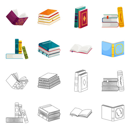 Vector illustration of training and cover symbol. Set of training and bookstore  vector icon for stock. 일러스트