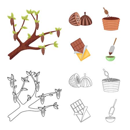 Vector illustration of food and yummy icon. Collection of food and brown   stock vector illustration. Иллюстрация