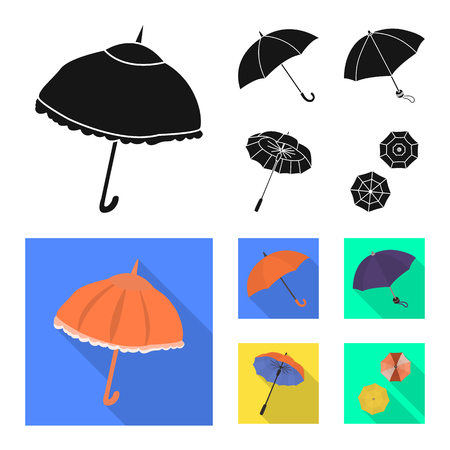 Vector illustration of protection and closed icon. Collection of protection and rainy stock symbol for web. Çizim