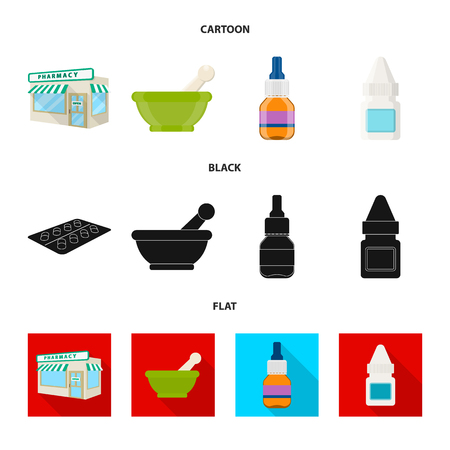 Isolated object of retail and healthcare sign. Collection of retail and wellness vector icon for stock.